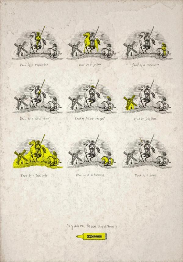 Anuncio con la figura de Don Quijote