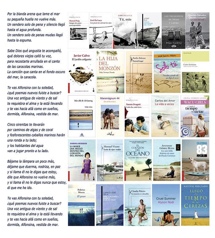 Portadas con imágenes de playas y el verso de Alfonsina Storni