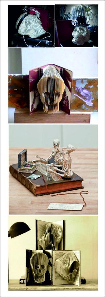 Calaveras de Halloween realizadas con libros