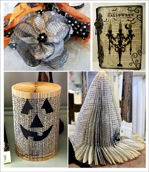 Adornos hechos con libros para Halloween