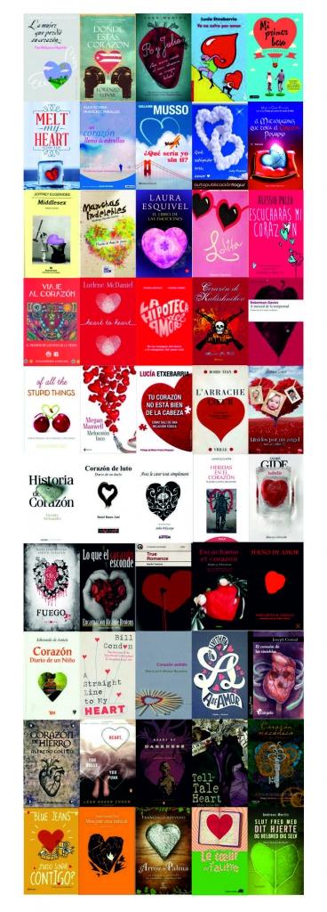 Portadas de novelas con corazones