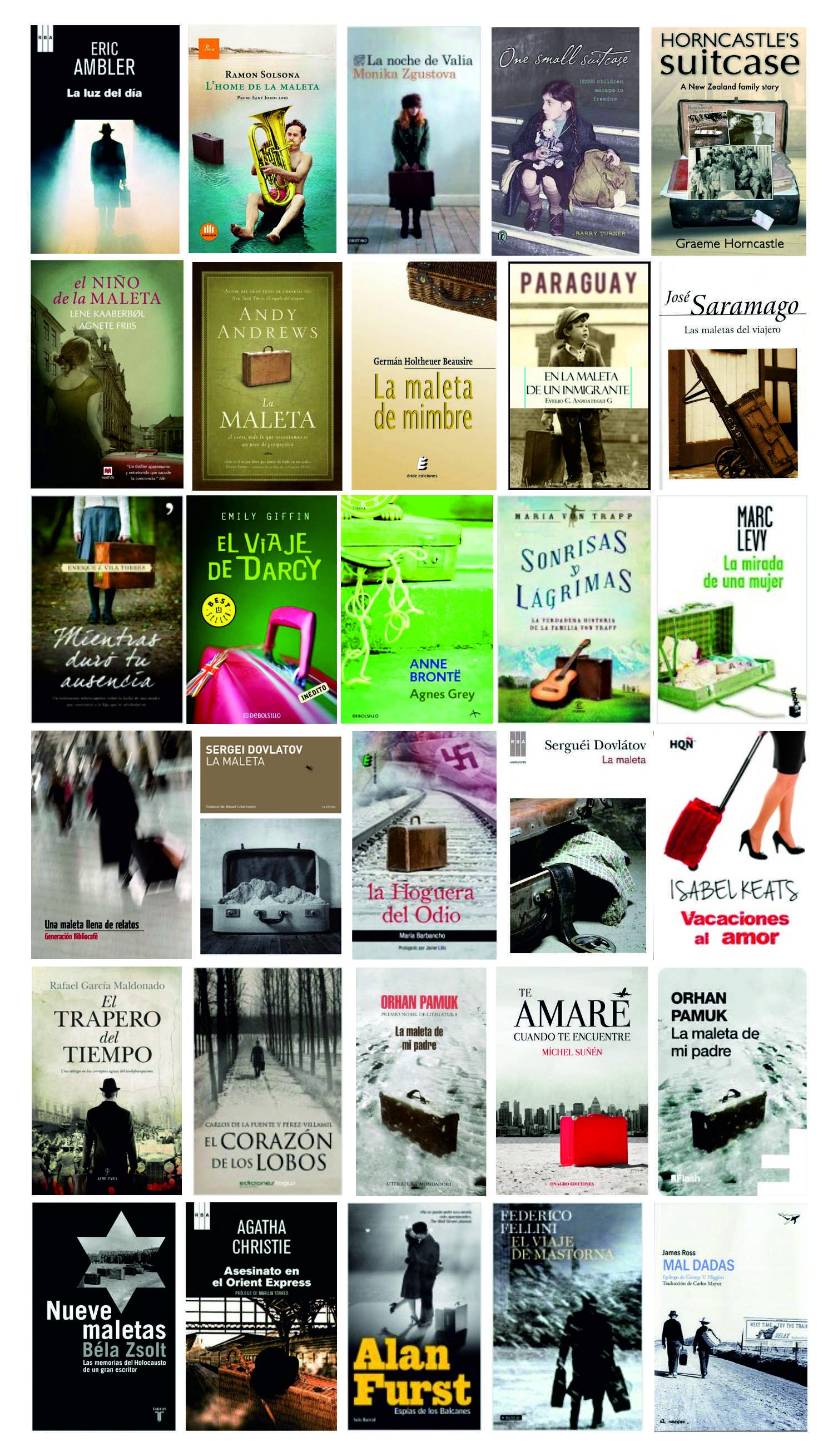 Portadas de libros con maletas