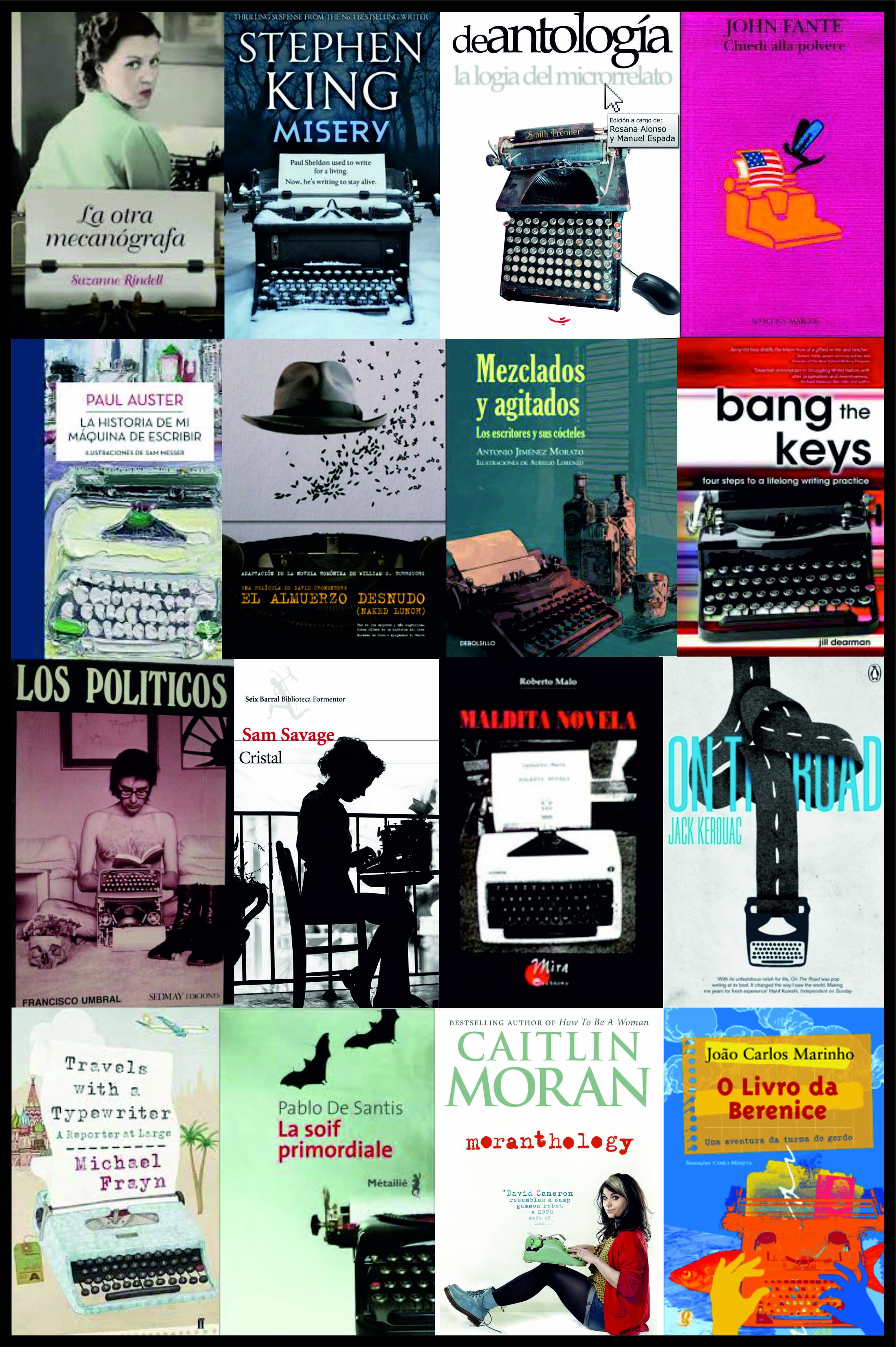Portadas de novelas con máquinas de escribir