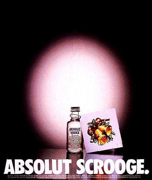 """Anuncio impreso """"SCROOGE"""", realizado por la agencia de publicidad """"Tbwachiatday"""" para Absolut Vodka en 1999."""