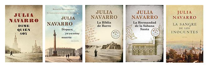 Las portadas de Julia Navarro, en sepia y con un monumento