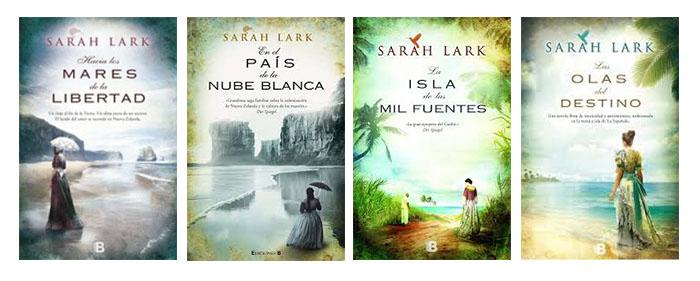 Las portadas de Sarah Lark, con mujeres vestidas de época al borde del mar
