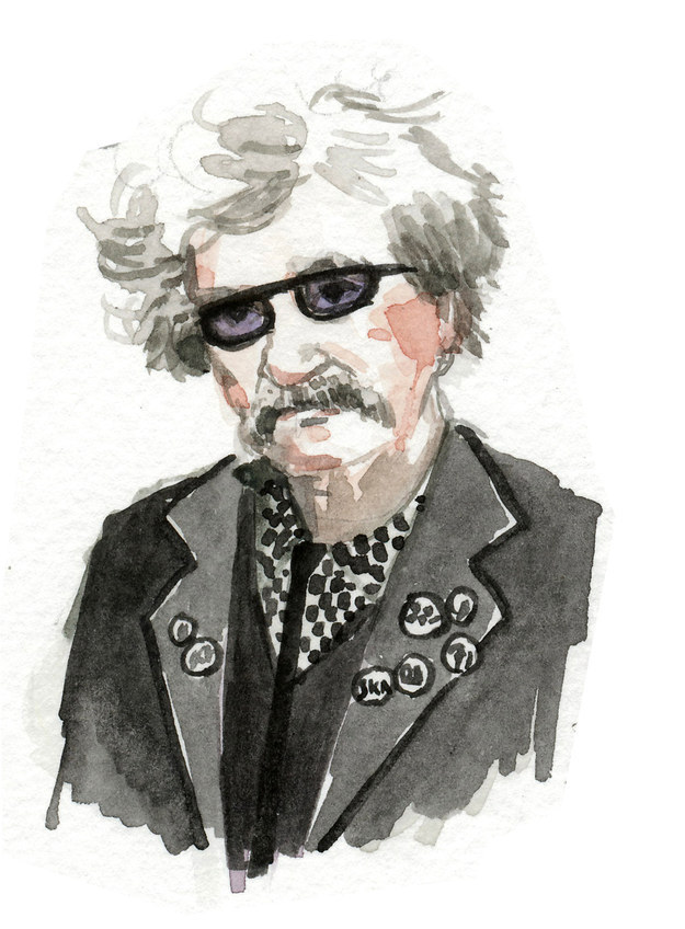 Mark Twain luciendo estilo rockero
