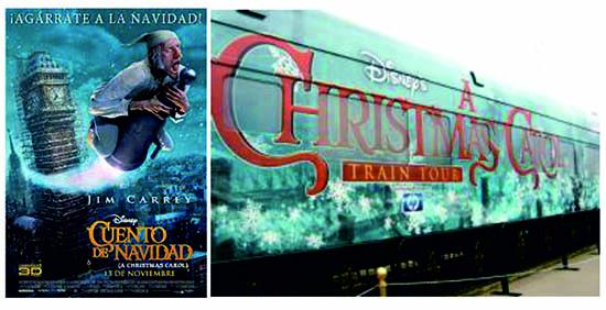 """Una nueva adaptación de Disney: """"Cuento de Navidad"""", de 2009. Robert Zemeckis toma la esencia del clásico de Dickens para convertirla en una película a través de la tecnología motion capture en 3-D. ¡La promoción de la película contó con su propio tren!"""