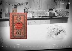H. G. Wells y su libro, La isla del doctor Moreau, para promocionar la lectura