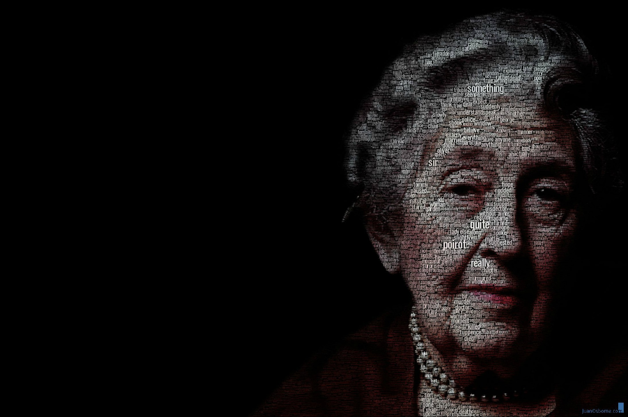 Retrato tipográfico de Agatha Christie realizado por Juan Osborne