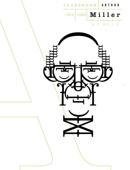 Retrato tipográfico de Arthur Miller, realizado por Roberto de Vicq