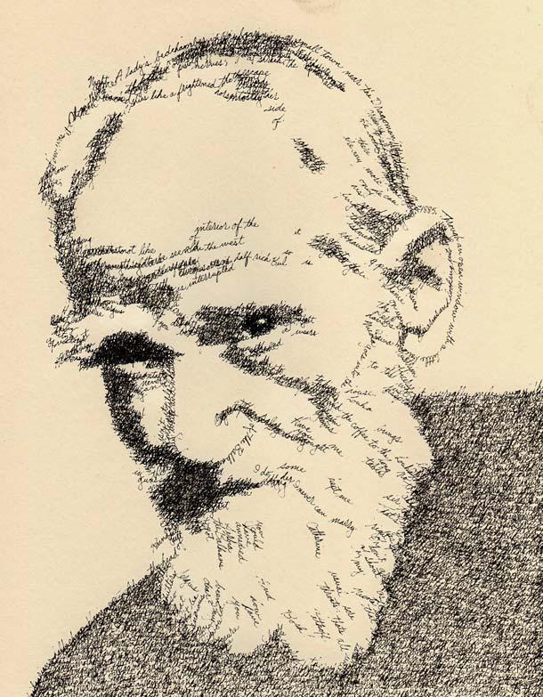 Retrato tipográfico de George Bernard Shaw realizado por John Sokol