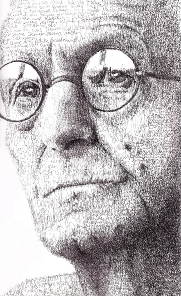 Retrato tipográfico de Hermann Hesse, obra de Anatol Knotek