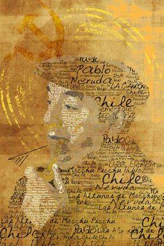 Retrato tipográfico de Pablo Neruda realizado por Christopher Lockhart