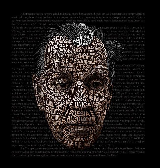 Retrato tipográfico de Jorge Luis Borges realizado para una campaña de la librería Bertrand