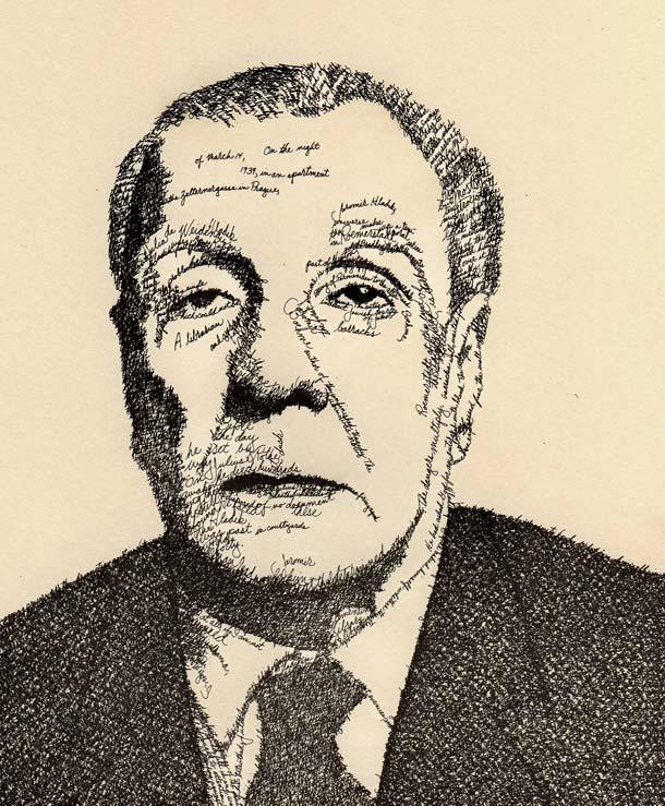 Retrato tipográfico de Jorge Luis Borges realizado por John Sokol