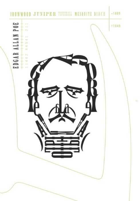 Edgar Allan Poe en un retrato tipográfico de Roberto de Vicq