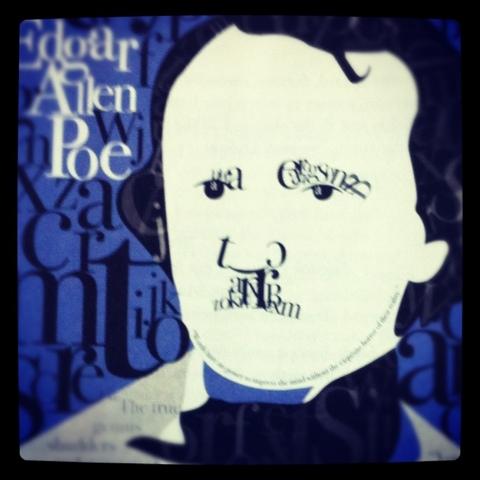 Colorido retrato tipográfico de Edgar Allan Poe