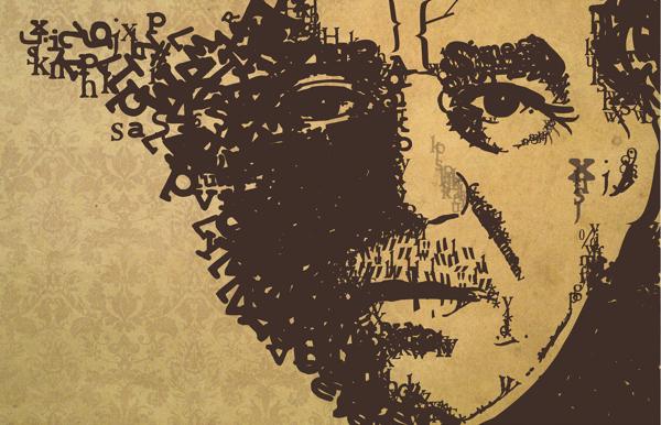 Retrato tipográfico de Gabriel García Márquez realizado por Laura Bonilla