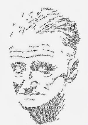 Retrato tipográfico de James Joyce realizado por John Sokol