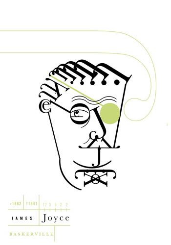 Retrato tipográfico de James Joyce realizado por Roberto de Vicq