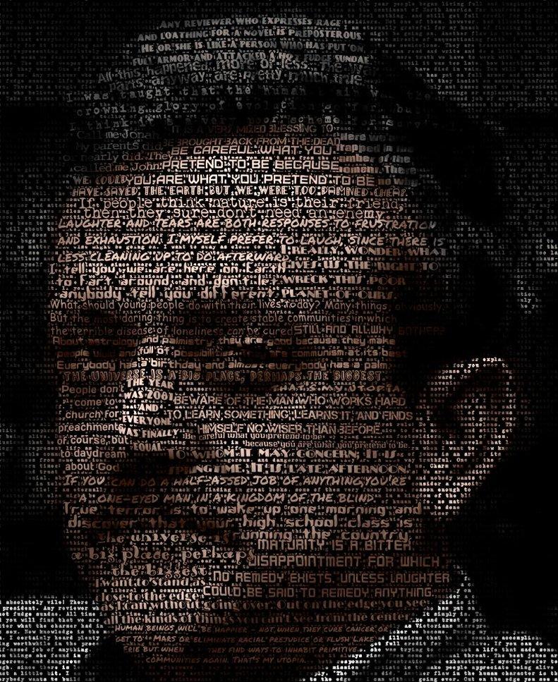 Kurt Vonnegut en un retrato tipográfico de Kenneth Rougeau