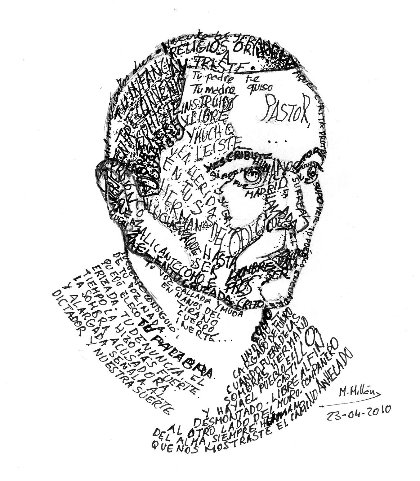 Caligrama de Miguel Hernández realizado por Manuel Milán