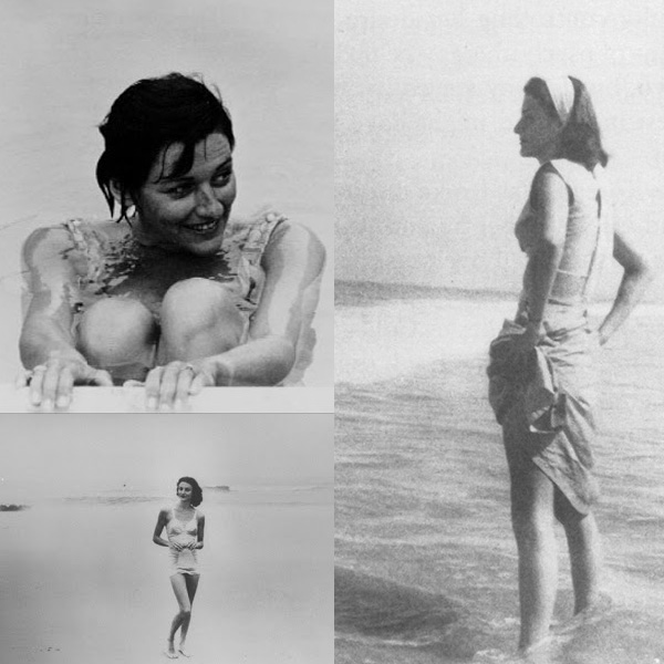 Anne Sexton durante su luna de miel en Virginia Beach, en 1948