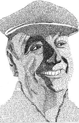 Retrato tipográfico de Pablo Neruda realizado por Laura Rosabal