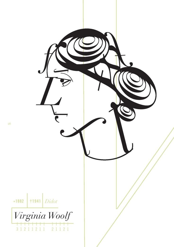 Retrato tipográfico de Virginia Woolf realizado por Roberto de Vicq