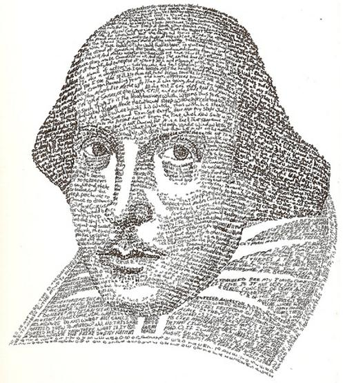 Retrato tipográfico de William Shakespeare realizado por Yelnoc