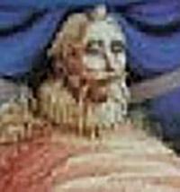 Detalle del cuadro de Octavio Ocampo donde aparece Cervantes