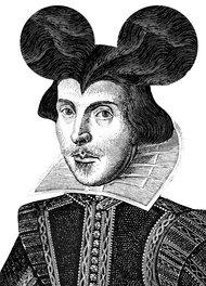 Ilustración de Shakespeare con orejas de Mickey Mouse