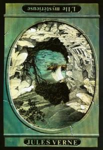 Al girar la ilustración, Julio Verne se convierte en La isla misteriosa