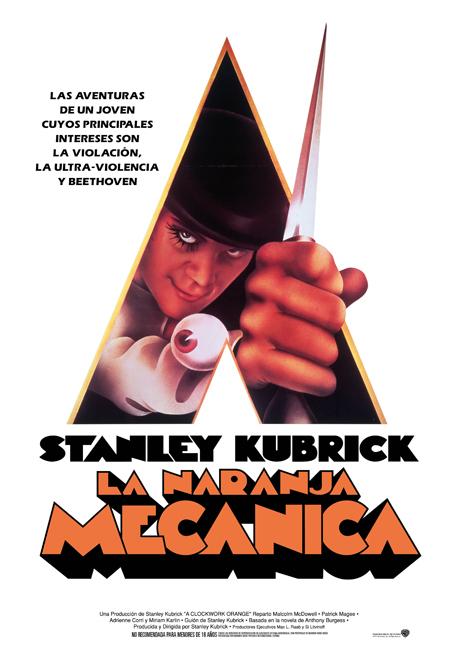 Cartel de la película La naranja mecánica, adaptación de la obra de Anthony Burgess