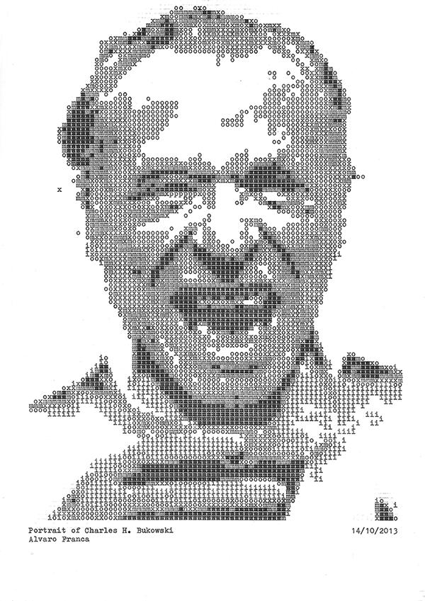 Retrato de Charles H. Bukowski realizado con máquina de escribir