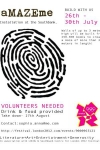 Cartel solicitando voluntarios para la realización del laberinto de libros