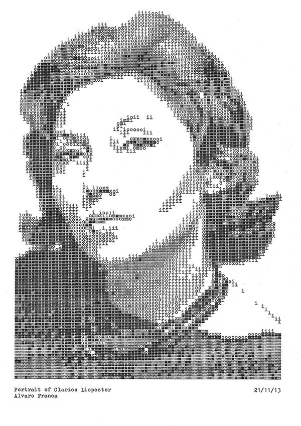 Retrato de Clarice Lispector realizado con máquina de escribir