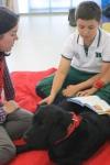 Niños leyendo con un perro adiestrado