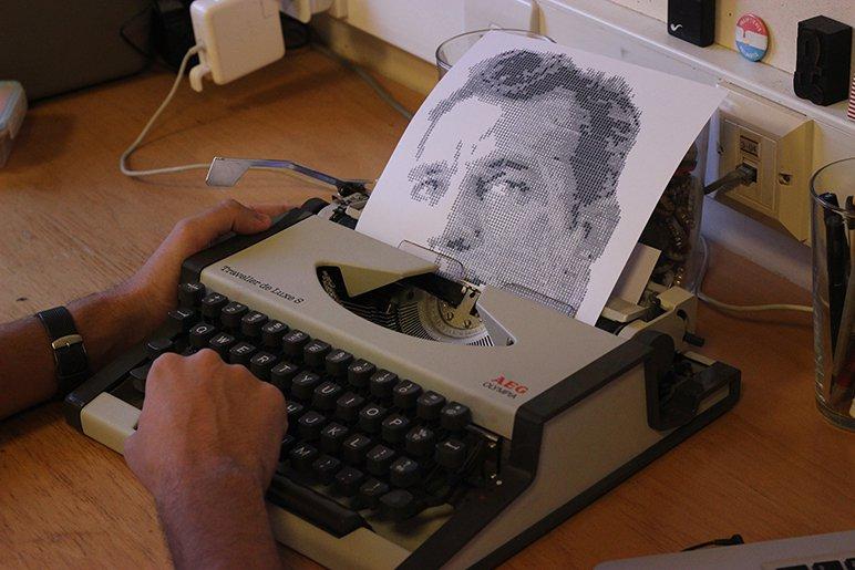 Proceso de realización del retrato tipográfico de Jack Kerouac