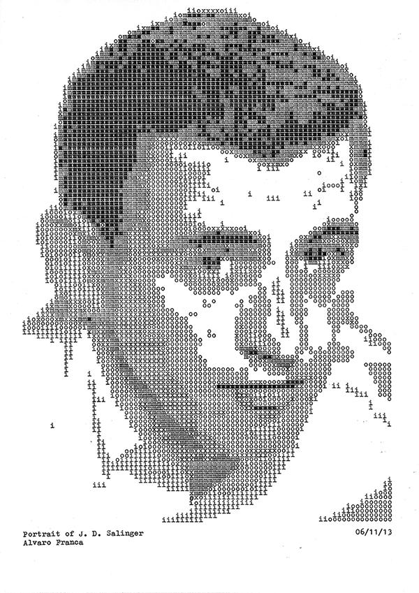 Retrato de JD Salinger realizado con máquina de escribir