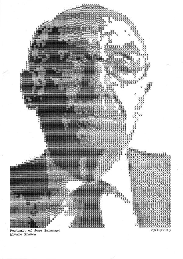 Retrato de Saramago realizado con máquina de escribir