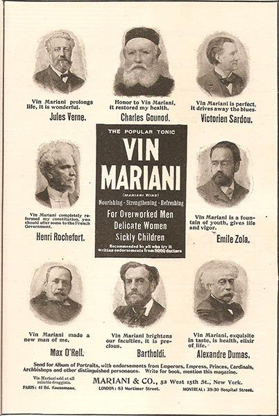 Prestigiosos autores en este anuncio de Vin Mariani