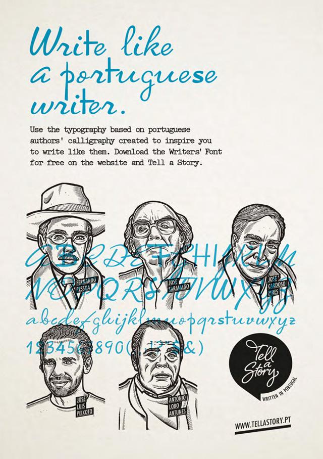 Campaña con la imagen de escritores portugueses