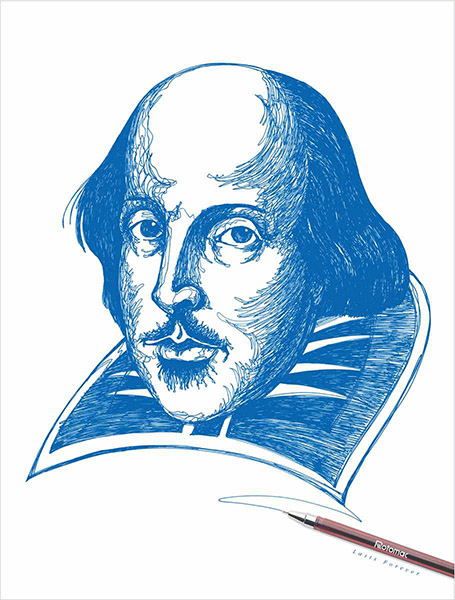 William Shakespeare en un anuncio de plumas Rotomac