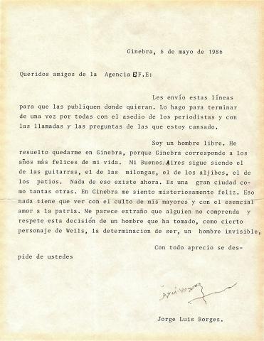 Carta enviada por Borges a la Agencia Efe
