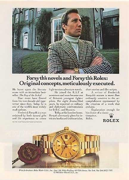 Frederick Forsyth anunciando relojes Rolex