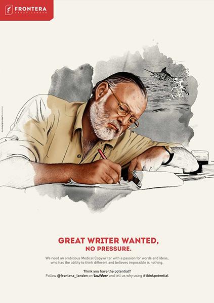 Hemingway en un anuncio que solicita copywriters