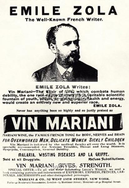 Emile Zola en un anuncio de Vin Mariani