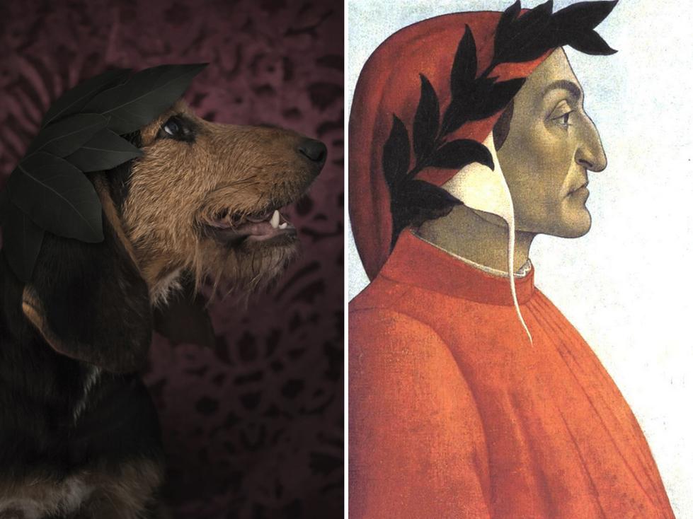 Dante Alighieri y el perro: misma pose